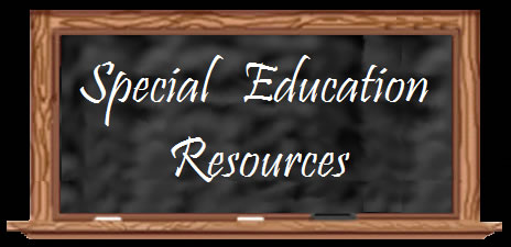 chalkboard with special ed resources written