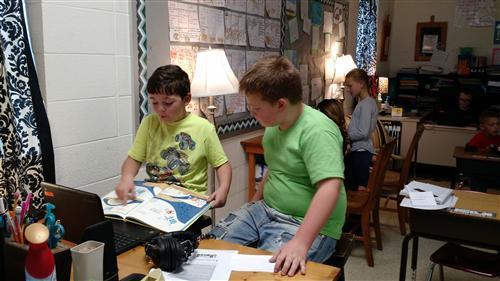 Student reading to each other