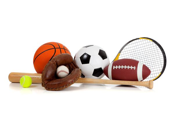 Picture of basketball, football, baseball glove, soccer ball
